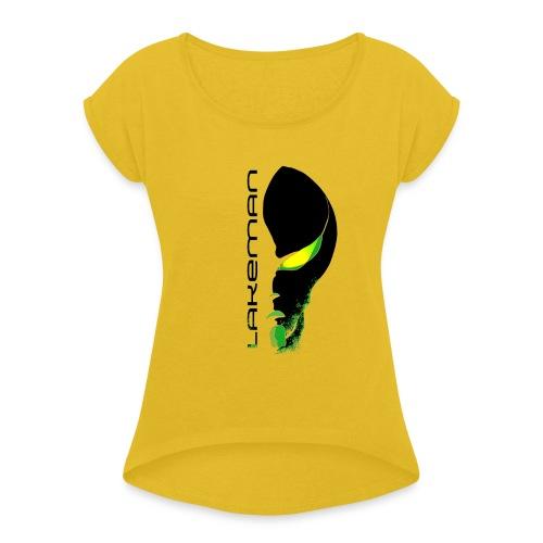 Lakeman Logo Face schwarz ohne Hintergrund - Frauen T-Shirt mit gerollten Ärmeln