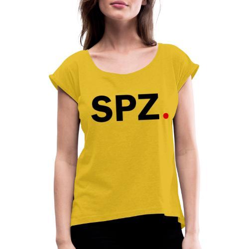 SPZ med prikk outlines Sort - T-skjorte med rulleermer for kvinner