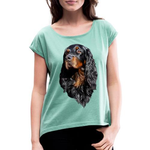 Gordon Setter Portrait - Naisten T-paita, jossa rullatut hihat