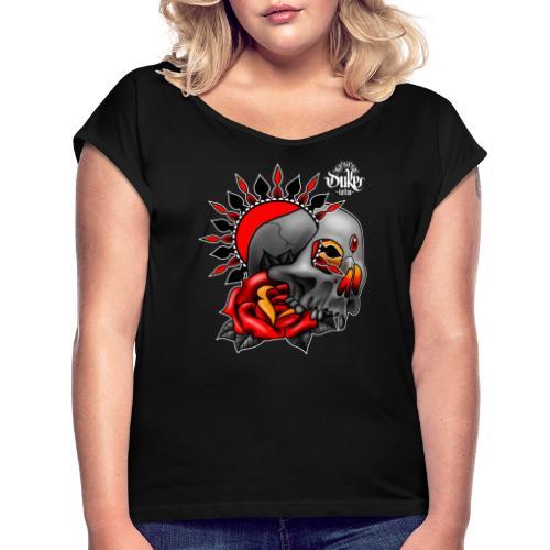 skullmandala - Vrouwen T-shirt met opgerolde mouwen