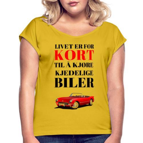 Bilinteressert - T-skjorte med rulleermer for kvinner