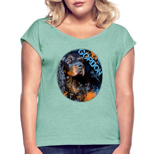 Gordon Setter Splash II - Naisten T-paita, jossa rullatut hihat