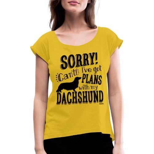 Plans Doxie LH B - Naisten T-paita, jossa rullatut hihat