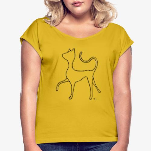 Hypnocat - Black - Naisten T-paita, jossa rullatut hihat