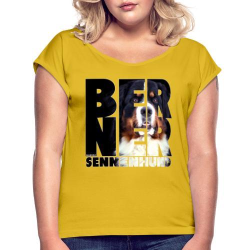 NASSU Berner Black - Naisten T-paita, jossa rullatut hihat