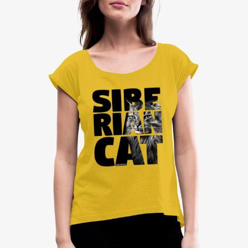 Siberian Cat Black - Naisten T-paita, jossa rullatut hihat