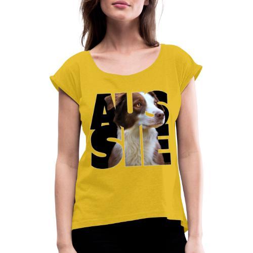 Aussie II - Naisten T-paita, jossa rullatut hihat