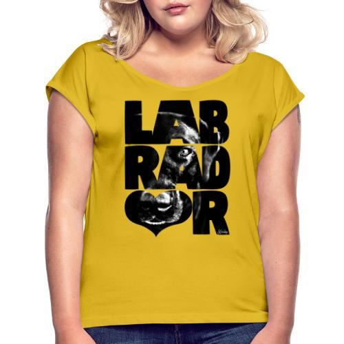 NASSU Labbis Black V - Naisten T-paita, jossa rullatut hihat