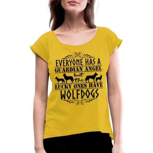 Wolfdog Angels II - Naisten T-paita, jossa rullatut hihat