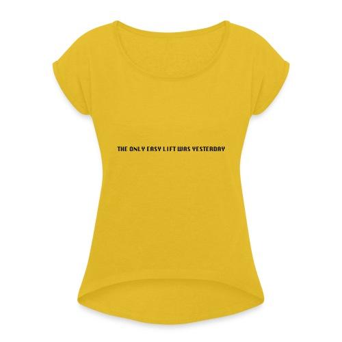 170106 LMY t shirt hinten png - Frauen T-Shirt mit gerollten Ärmeln