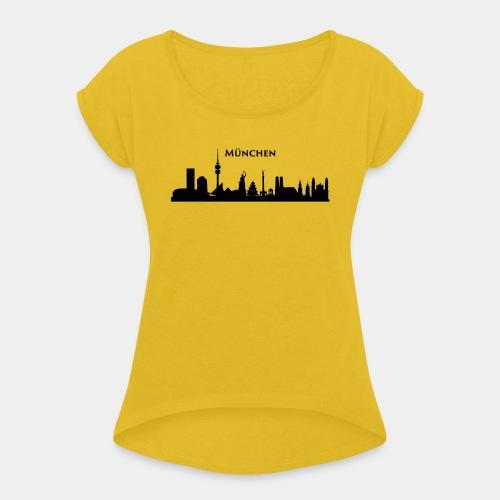München Skyline - Frauen T-Shirt mit gerollten Ärmeln