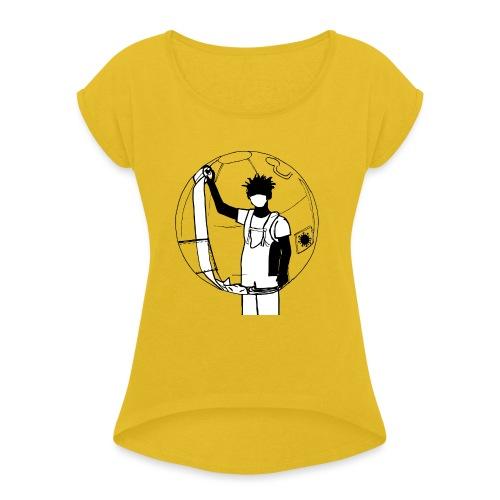 Karantän - T-shirt med upprullade ärmar dam