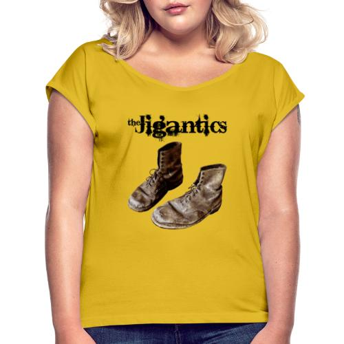 The Jigantics boot logo - black - Women's T-Shirt with rolled up sleeves