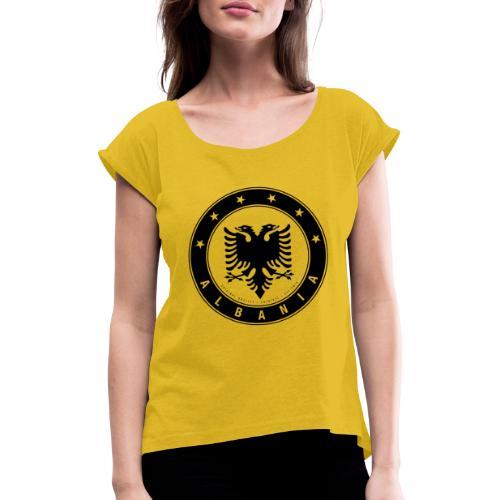 Patrioti Albania Black - Frauen T-Shirt mit gerollten Ärmeln