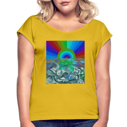 c21x - Camiseta con manga enrollada mujer