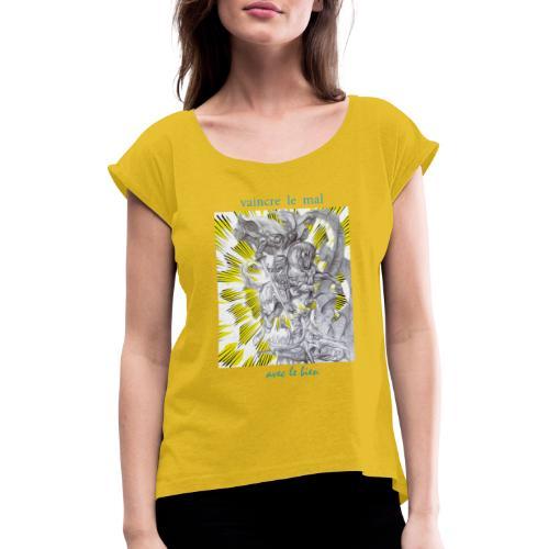 C13 - Camiseta con manga enrollada mujer
