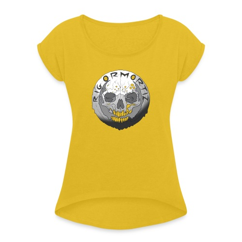 Rigormortiz Black and White Design - Women's T-Shirt with rolled up sleeves