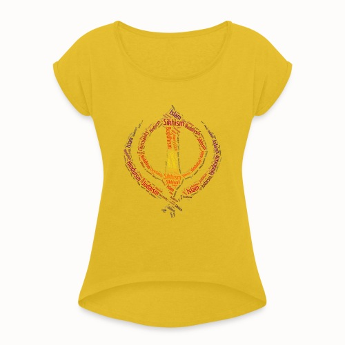 T-shirt sikh khanda encompassing world religions - Women's T-Shirt with rolled up sleeves