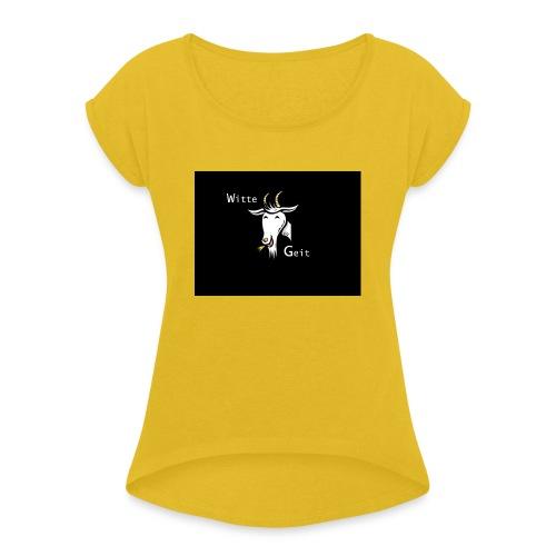 witte geit - Vrouwen T-shirt met opgerolde mouwen
