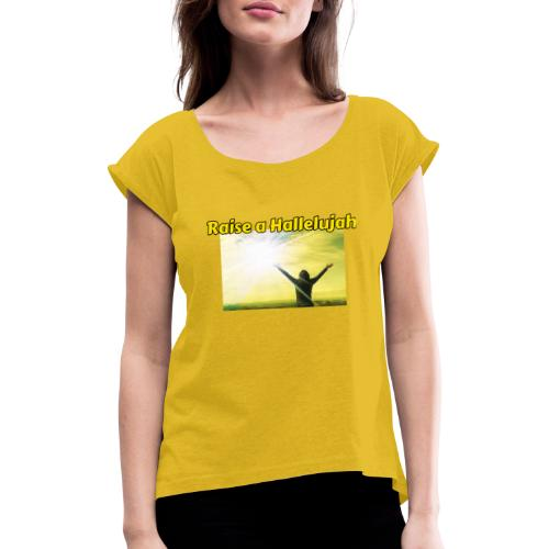 E2A1883E 90F3 41EE A546 DD94094C0142 - Dame T-shirt med rulleærmer