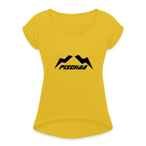 Pischaa V1 black - Frauen T-Shirt mit gerollten Ärmeln