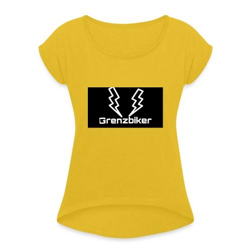 Grenzbiker logo - Frauen T-Shirt mit gerollten Ärmeln
