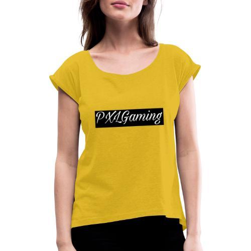 Einfaches Logo - Frauen T-Shirt mit gerollten Ärmeln
