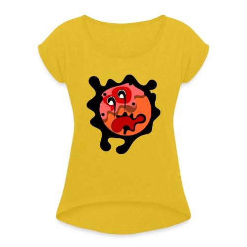 scary cartoon - Vrouwen T-shirt met opgerolde mouwen