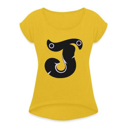 Jopietime - Vrouwen T-shirt met opgerolde mouwen