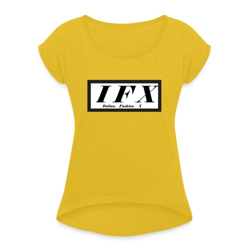 Logo Hoodie 2[IFX] - Frauen T-Shirt mit gerollten Ärmeln