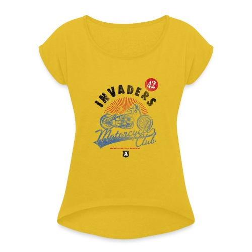 DownloadT-ShirtDesigns-com-2121724 Invaders - Women's T-Shirt with rolled up sleeves