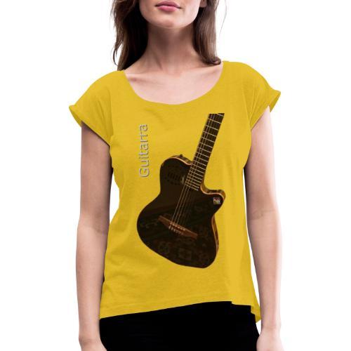 Guitarra inclinada - Camiseta con manga enrollada mujer