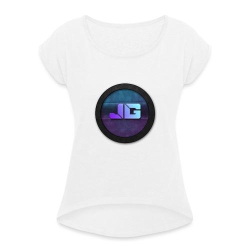 shirt met logo - Vrouwen T-shirt met opgerolde mouwen