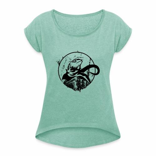 Bearded Dragon - Frauen T-Shirt mit gerollten Ärmeln