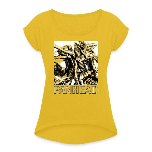 Panhead motordetail 02 - Vrouwen T-shirt met opgerolde mouwen