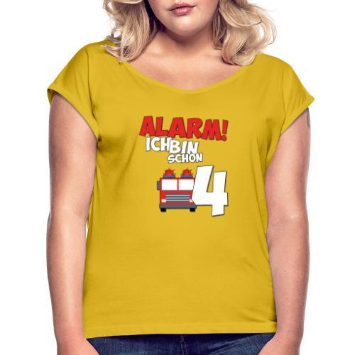 Feuerwehrauto 4. Geburtstag Jungen 4 Jahre - Frauen T-Shirt mit gerollten Ärmeln