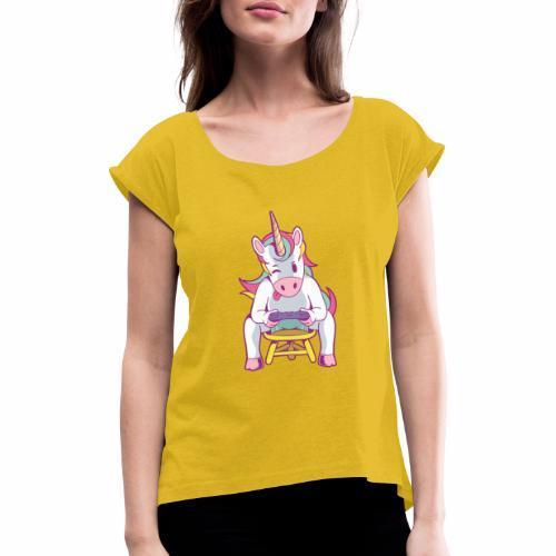 gamer unicorn - Frauen T-Shirt mit gerollten Ärmeln