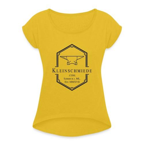 Kleinschmiede Logo 01 3200 3825 sw - Frauen T-Shirt mit gerollten Ärmeln