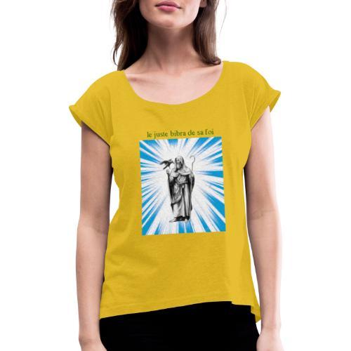 C10 - Camiseta con manga enrollada mujer