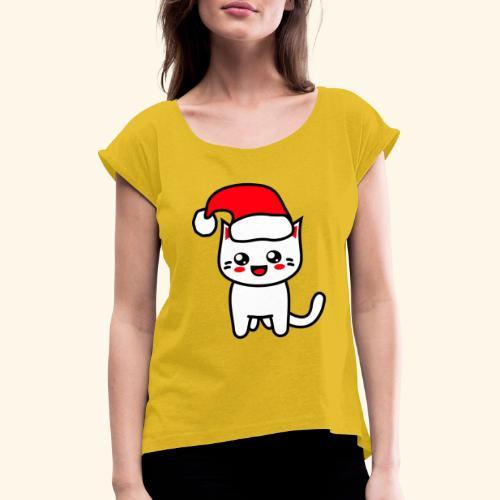 Kawaii Kitteh Christmashat - Frauen T-Shirt mit gerollten Ärmeln