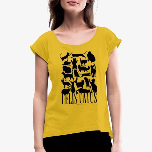 Felis Catus Black - Naisten T-paita, jossa rullatut hihat