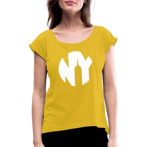 Logo French Yorker blanc - T-shirt à manches retroussées Femme