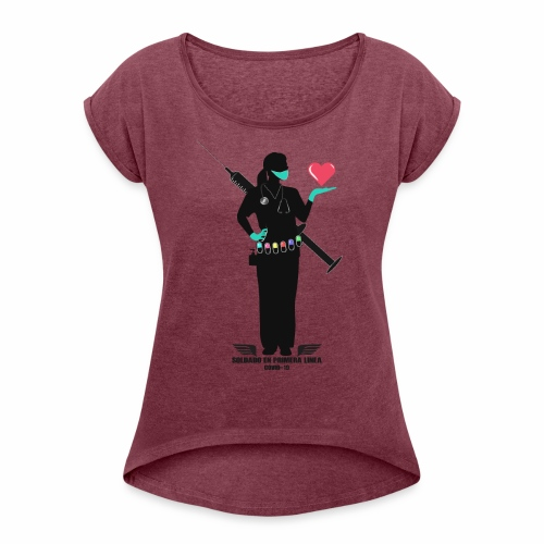 Nuestras Heroinas. - Camiseta con manga enrollada mujer