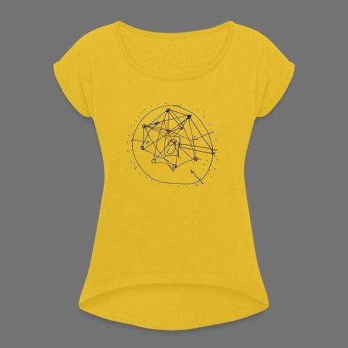 SEO strategia No.1 (musta) - Naisten T-paita, jossa rullatut hihat