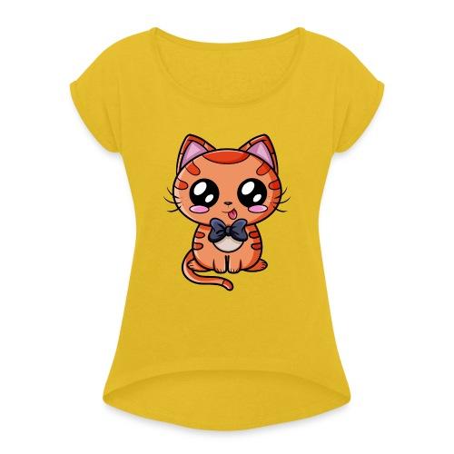 Chat Kawaii ! - T-shirt à manches retroussées Femme