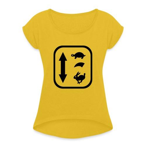 traktor schaltung - Frauen T-Shirt mit gerollten Ärmeln