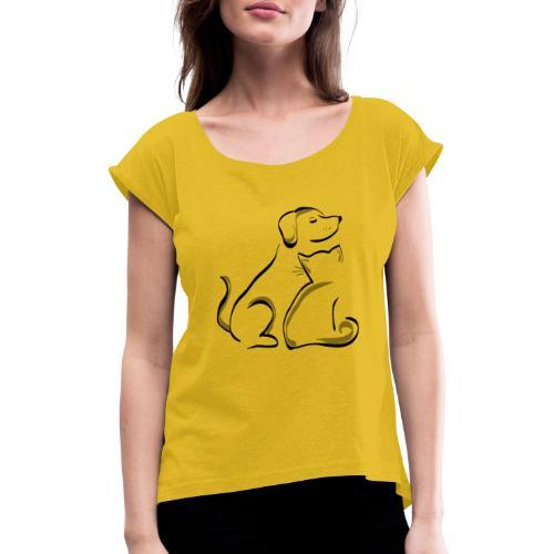 Dog and Cat - Frauen T-Shirt mit gerollten Ärmeln