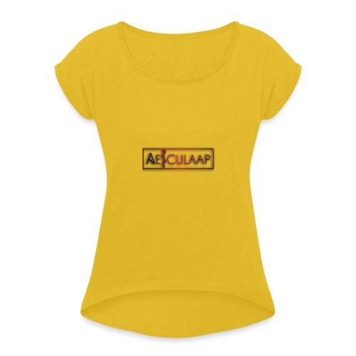 New_Logo2 - Vrouwen T-shirt met opgerolde mouwen