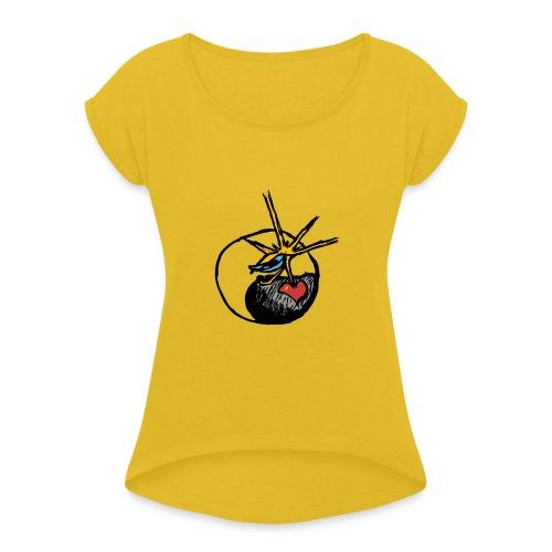 Mindfackt logo - Naisten T-paita, jossa rullatut hihat