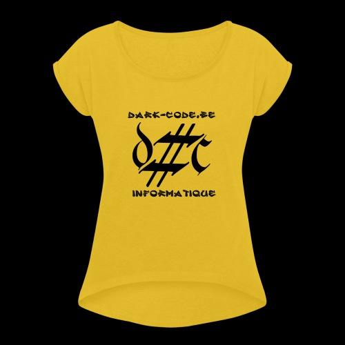 Dark-Code Black Gothic Logo - T-shirt à manches retroussées Femme